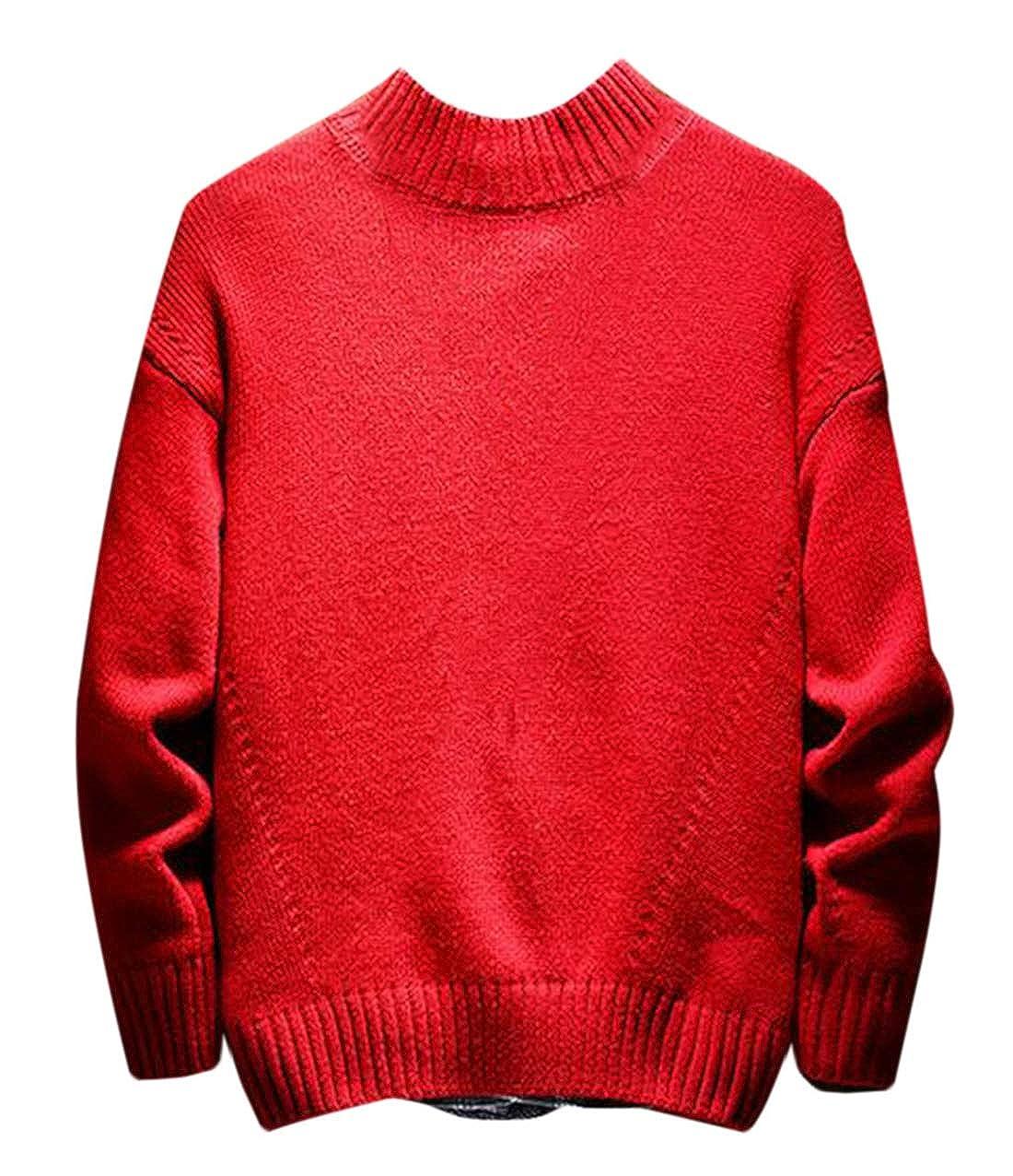 Hmarkt Men Turtleneck Pullover Knitted Warm Casual Winter Long Sleeve Sweater