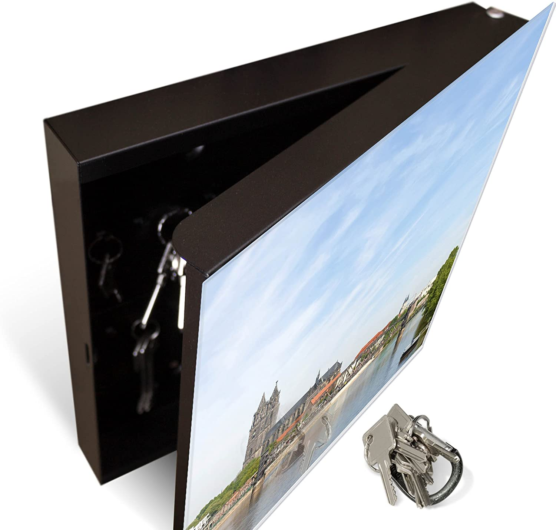 Motiv Dom Magdeburg beschreibbare Glast/ür Scharnier Links banjado Gro/ßer Schl/üsselkasten aus Glas als Magnettafel nutzbar Schl/üsselbox mit 50 Haken Schl/üsselaufbewahrung 30cm x 30cm