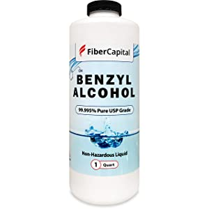 FiberCapital Benzyl Alcohol - USP Grade Solvent in No-BPA Sterile Plastic Bottle - Bacteriostatic Solution for Pharmaceutical Products, Perfumes & Cosmetics - Non-Diluted Ultra Pure - 32 Oz (1000Ml)