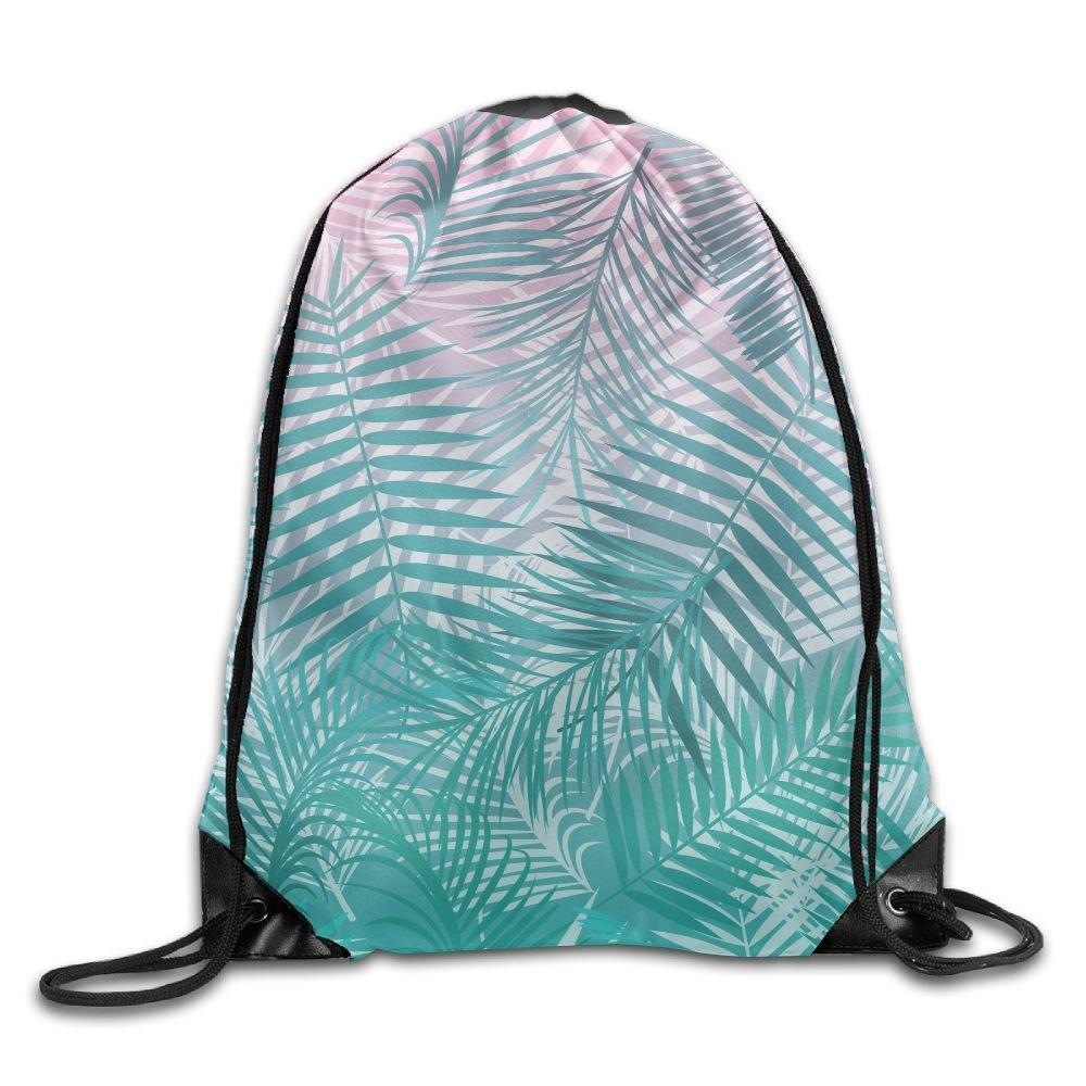 Portable Drawstring Bag Gym Bag - Pink Teal Fine Leaves