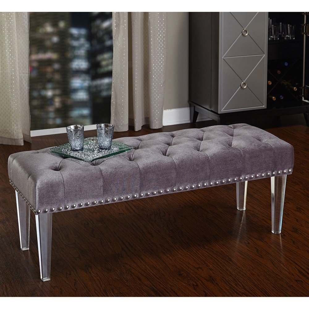 Amazon com simple living leona bench with acrylic legs grey table benches