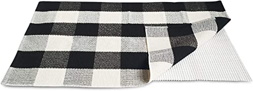 Buffalo Plaid Rug. Non-Slip Mat Included. Indoor Outdoor Use. Black and White Classic Checkered Woven Rug 2×3 . For Kitchen
