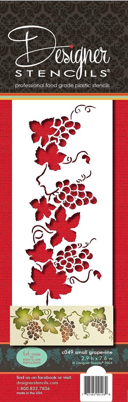 designer stencils C049 Small Grapevine Cake Stencil, Beige/semi-transparent