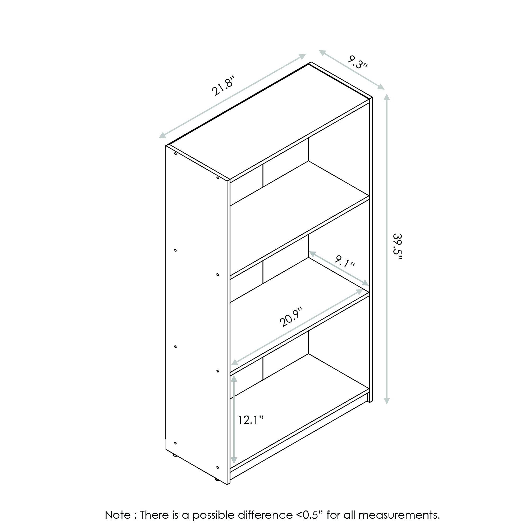 Furinno 99736CWN Basic 3-Tier Bookcase Storage Shelves, Columbia Walnut by Furinno (Image #2)