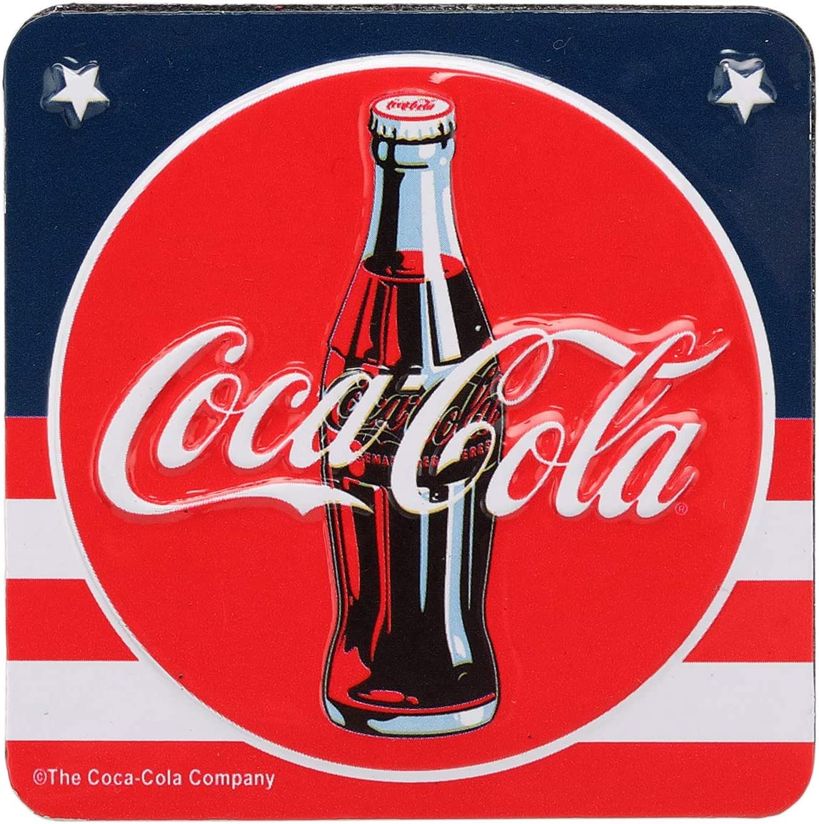 Open Road Brands Coca-Cola Vintage American Flag Style Tin Magnet - Coca-Cola Officially Licensed Product - Perfect Size for Home Decor