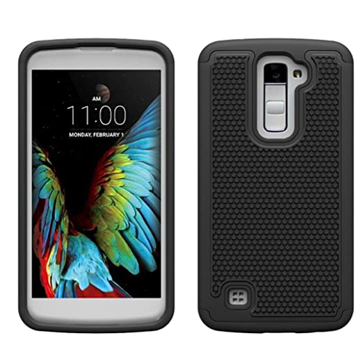 lg k10 phone case,Voberry Shock Proof Dual Layer Soft Rubber Impact Armor Case Back