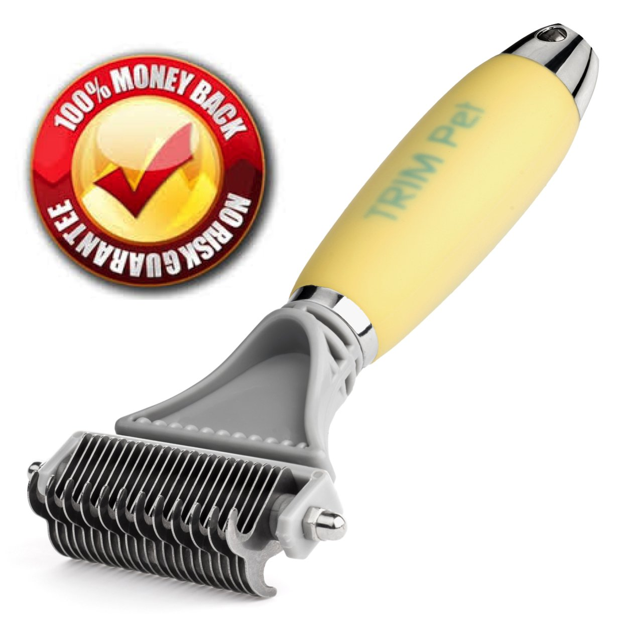 Trim Pet Dematting Comb with 2 Sided Professional Grooming Rake for Cats & Dogs by Trim Pet