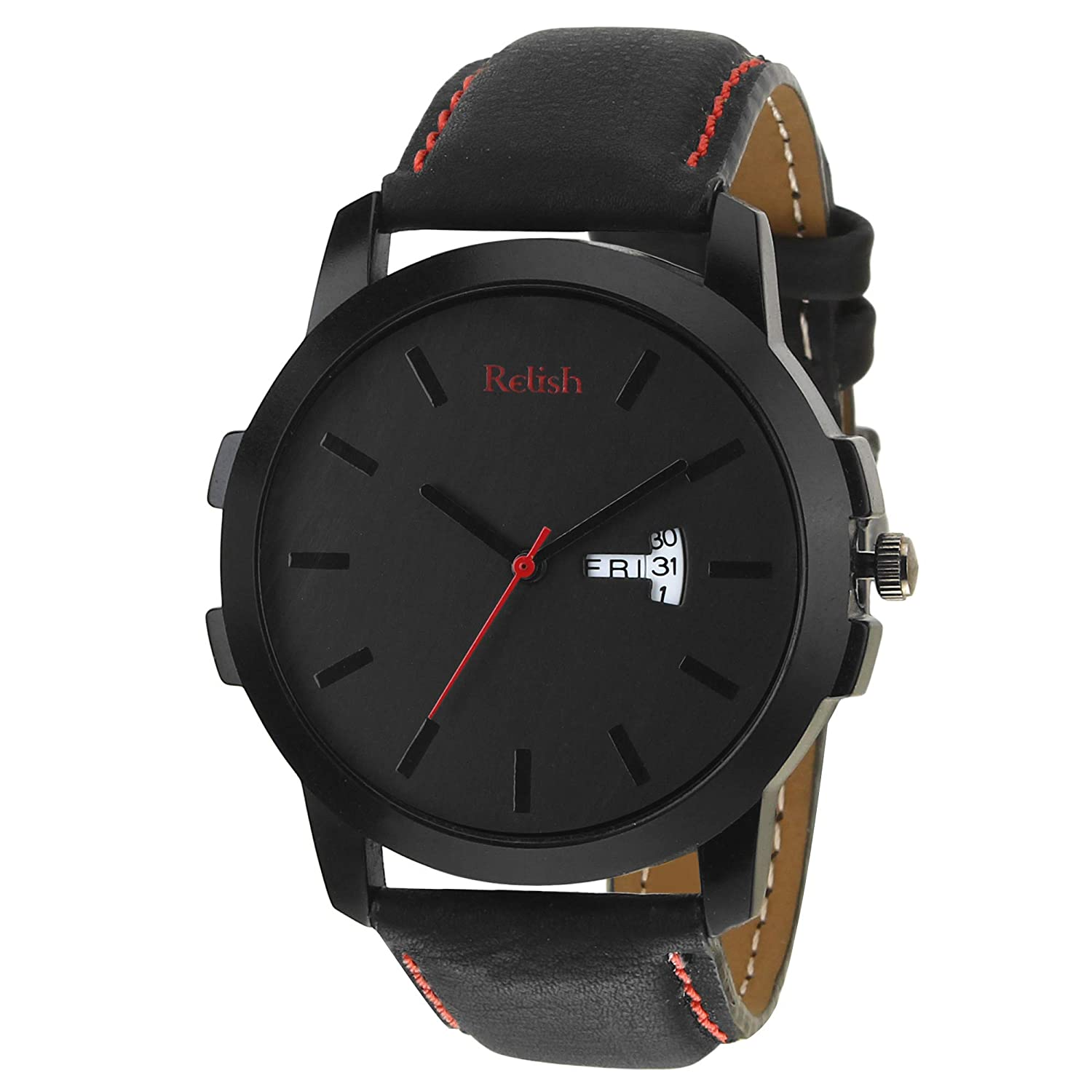 Relish Day N Date Display Analog Black Dial Men's Watch-RE-BR971DD