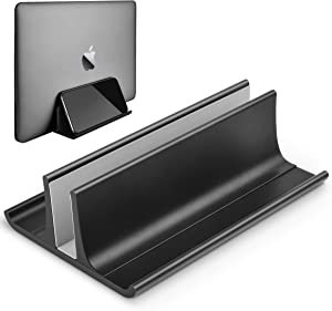 Vertical Laptop Stand, Aluminum Alloy Desktop Stand Adjustable Laptop Holder (up to 17.3 inches) Compatible with All MacBook/Surface/HP/Dell/Lenovo/Gaming Laptops,Black