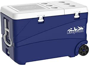Cosmoplast Keep Cold Plastic Cooler Icebox Deluxe 95, 102 Liters with Wheels
