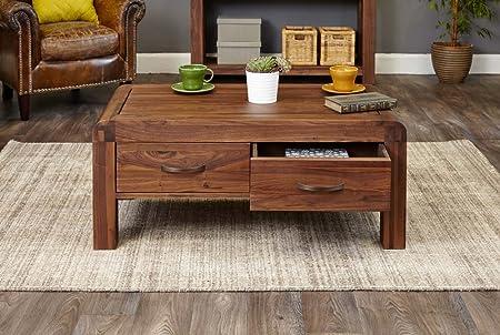 Baumhaus Shiro Walnut Four Drawer Coffee Table Amazon Co Uk