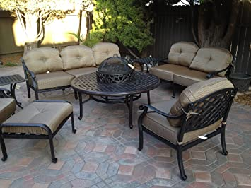 amazon com heritage outdoor living nassau cast aluminum 8pc rh amazon com heritage nassau outdoor furniture Outdoor Patio Furniture