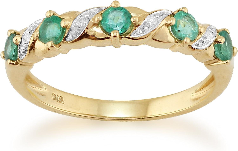 9 Ct Oro Amarillo 0,44ct Natural Esmeralda & Diamante Anillo De Media Eternidad