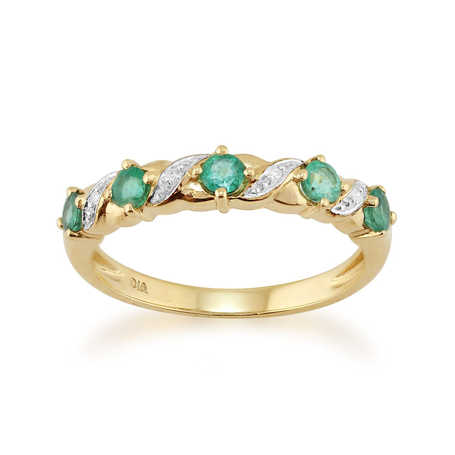 9ct Yellow Gold 0.44ct Natural Emerald & Diamond Half Eternity Ring Gemondo