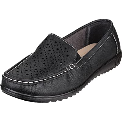 Amblers Ladies Cherwell Slip On Moccasin Style Shoe Black