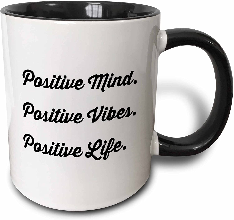 3dRose Mind Vibes Positive Life Mug, 11 oz, Black