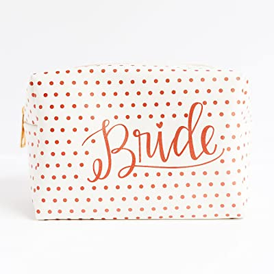 Bride Rose Gold Toned Foil Dot 7 x 4 Vegan Leather Cosmetic Bag