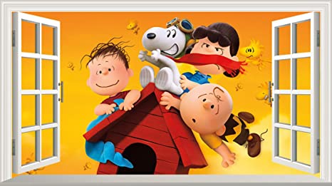 Chicbanners Cacahuetes película Charlie Brown y Snoopy V003 Magia Ventana Pared Adhesivo Adhesivo póster de Pared