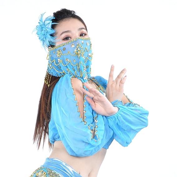 74e40f4074ca4b BellyLady Belly dance tribal visage-voile-idée cadeau avec perles saint  valentin  Amazon.fr  Vêtements et accessoires