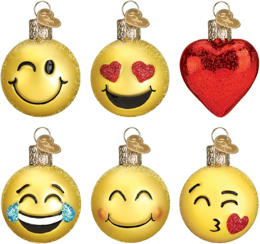 Old World Christmas Glass Blown Ornaments for Christmas Tree, Mini Emoji Set