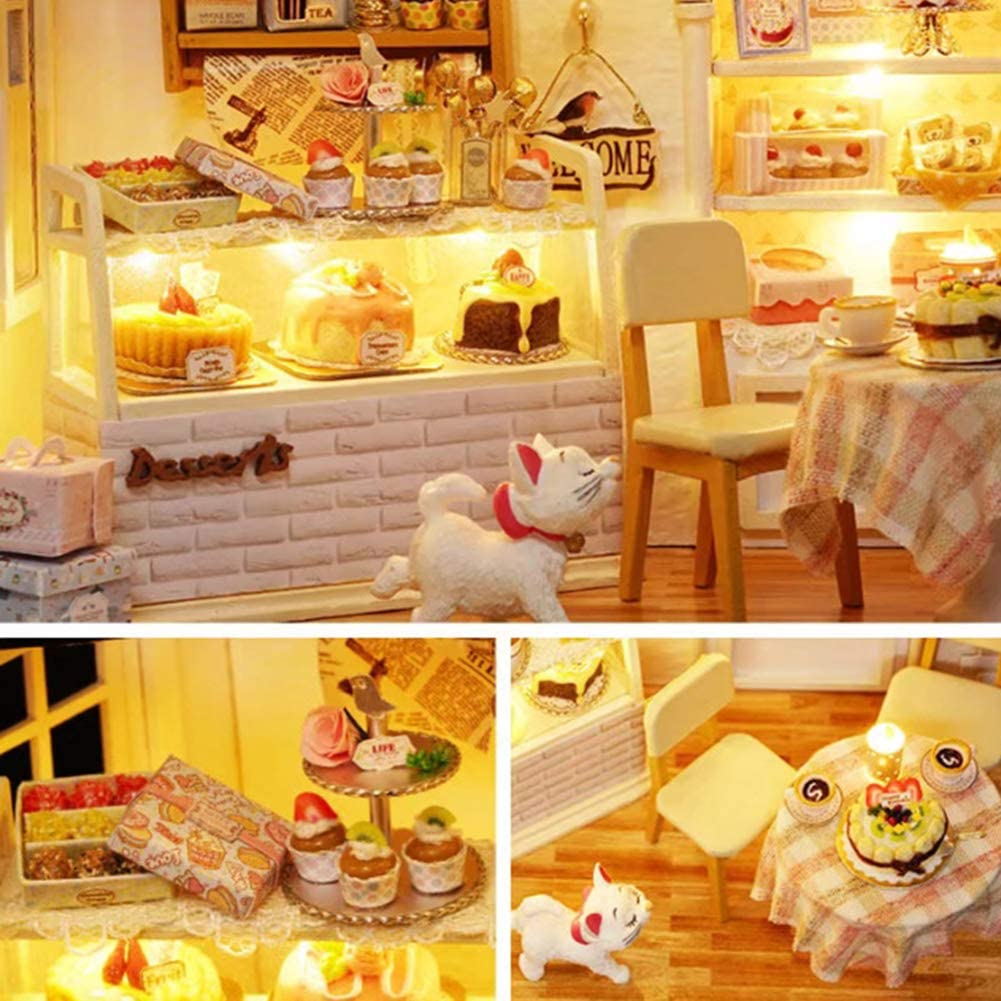 Rubyyouhe8 Festival Supplies /& Christmas Supplies,Mini LED Doll House Coffee Shop DIY Assembly Model Toy Table Decor Xmas Gift Party Decor Christmas Xmas Gifts