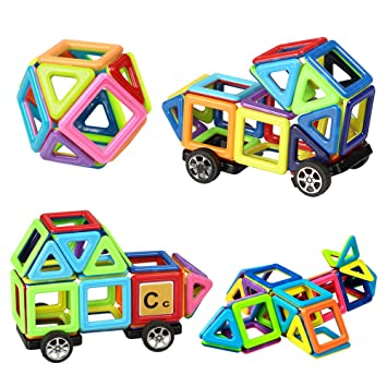 Magnetic Building Blocks76 PiecesLet Your Kid Learn Colors And Shapes|