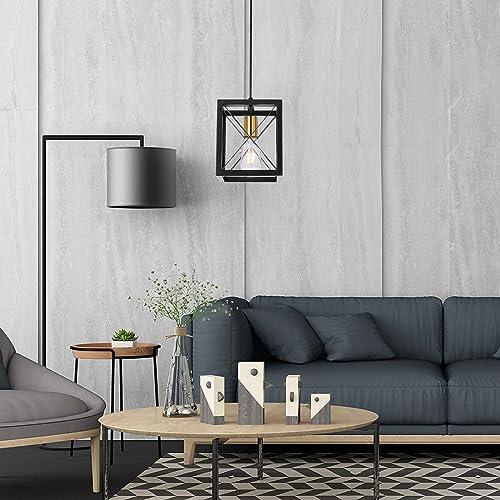 Pendant Light Flush Mount Pendant Ceiling Fixture Industrial Hanging Light Matte Metal Black Painted Finish