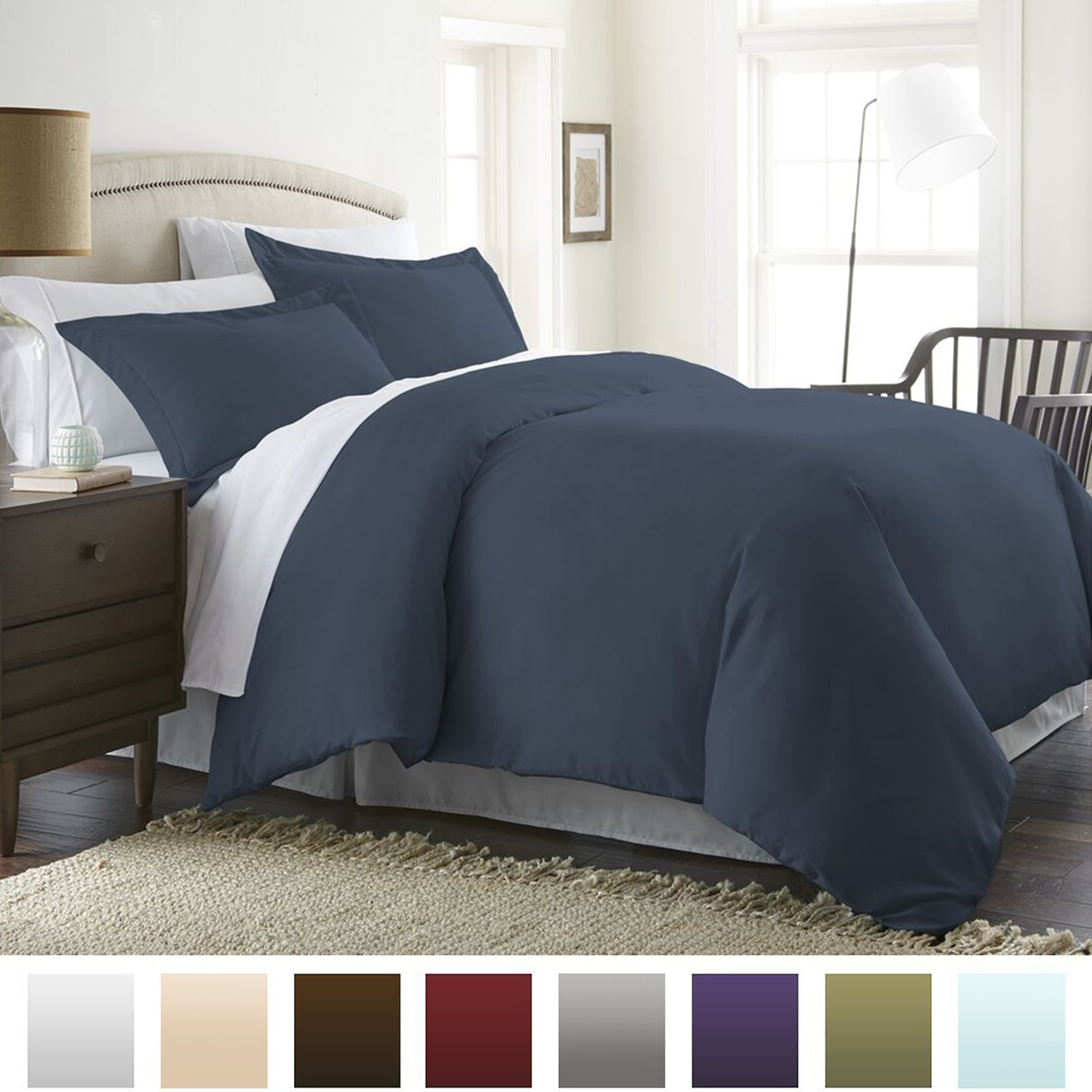 Beckham Hotel Collection Luxury Soft Brushed 1800 Series Microfiber Duvet Cover Set Navy