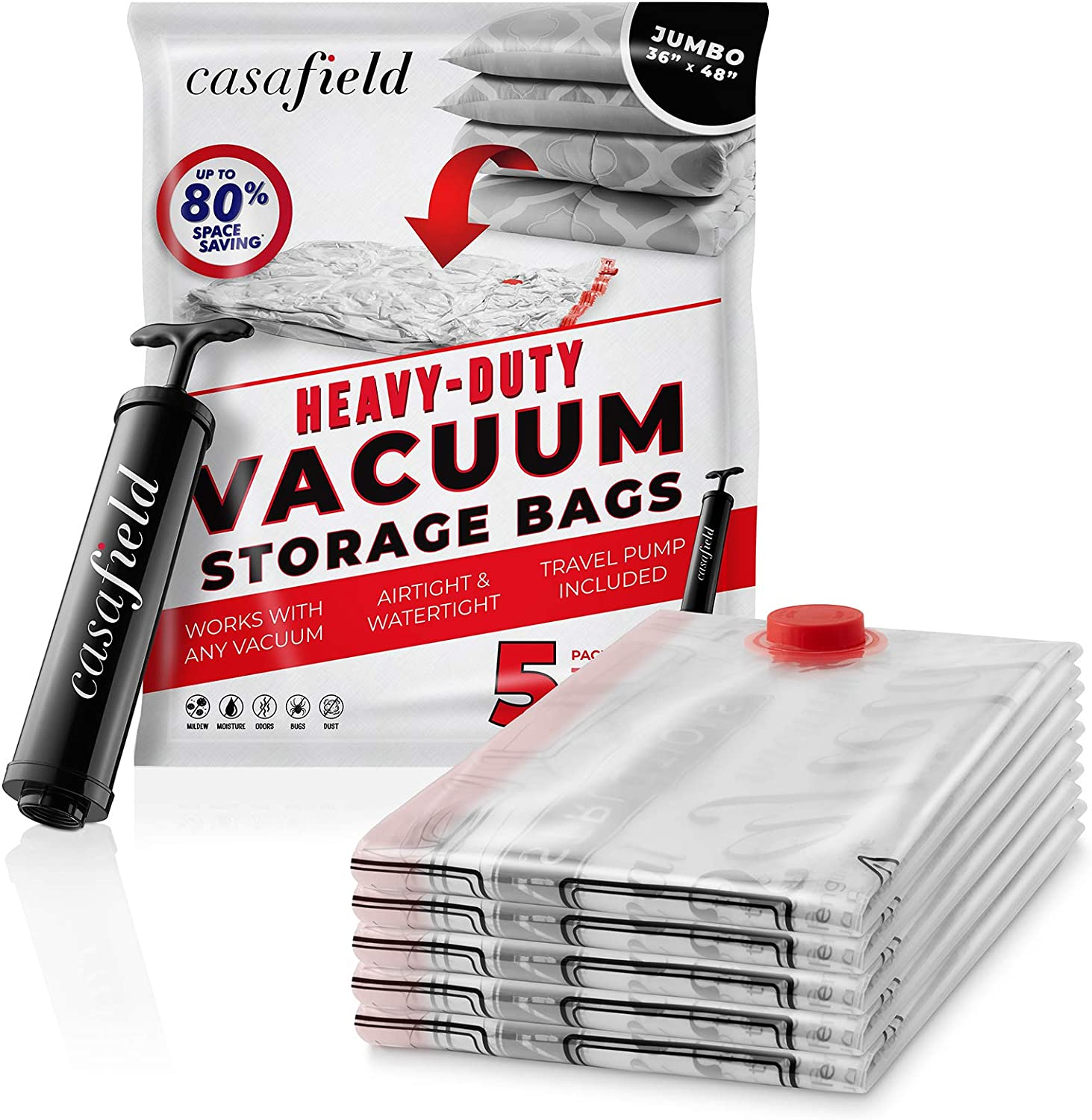 "Casafield 5 Jumbo (48"" x 36"") Vacuum Space Storage Saver Bags with Travel Hand Pump - Organize, Compress & Store"