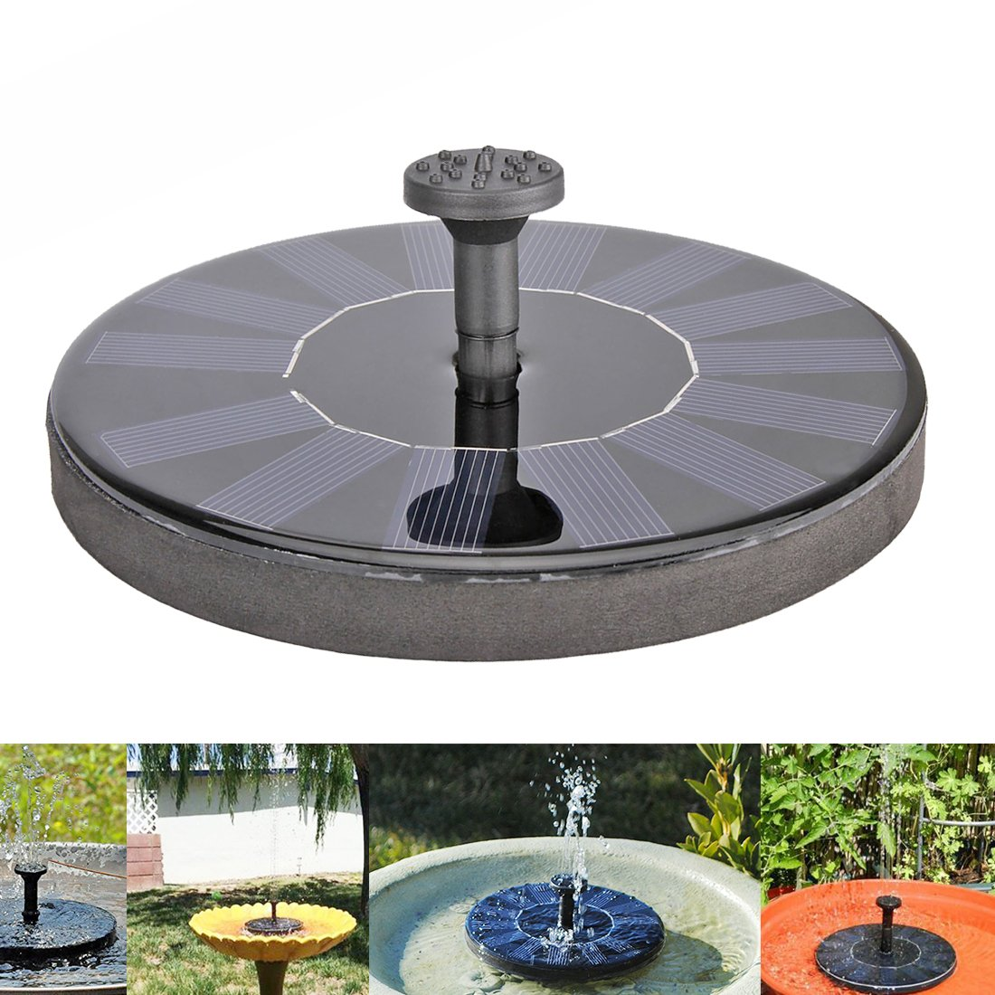 B2COOL Solar Bird Bath Fountain Pump for Garden Pond Pool Water Cycle, 1.4W Outdoor Watering Submersible Pump Kit