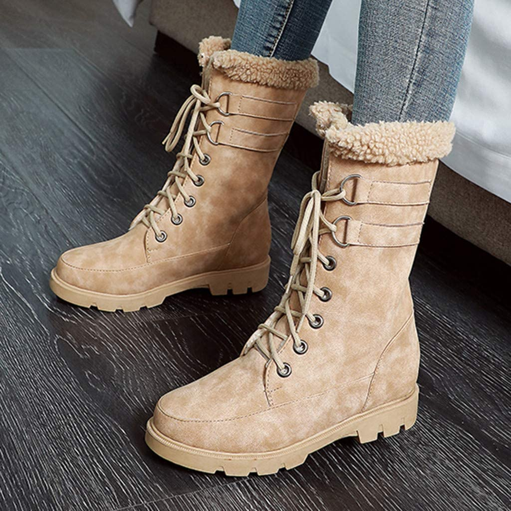 LADIES SPOT  FLAT WALKING FAUX FUR PIN BUCKLE CASUAL LACE UP COLOR ANKLE BOOTS