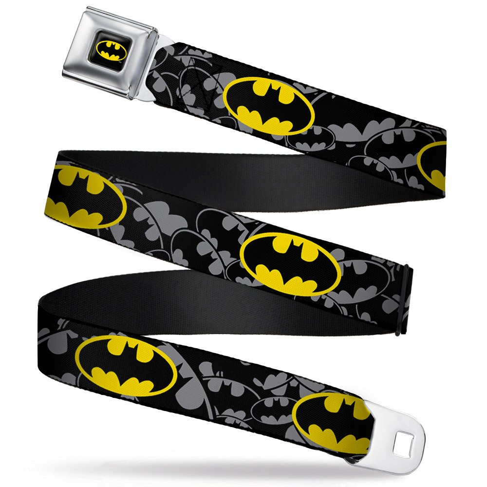 Buckle-Down Seatbelt Belt - Bat Signals Stacked/Repeat Gray/Black/Yellow - 1.5 Wide - 24-38 Inches in Length BMC-WBM119