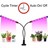 LED Grow Light Timer(3/9/12 hrs) 3 Light Mode 5 Level Dimmable Flexible Gooseneck Clip On Grow Plant Lamp for Indoor Plant,Succulent,Herbs,Veg and Flower Hydroponics in Greenhouse,Garden(Black)