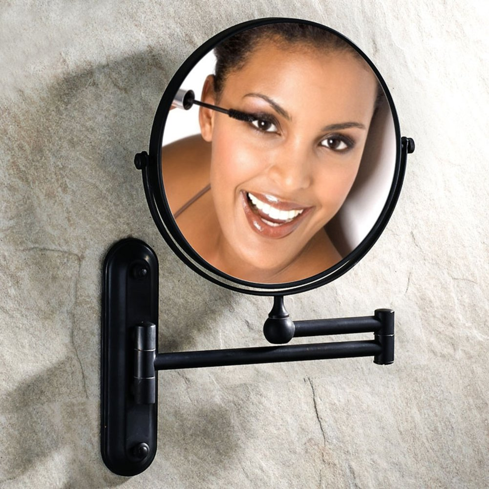 best bathroom cosmetic mirrors/ antique mirror/Toilet wall-mounted folding mirror/ telescopic magnifying glass on both sides-D
