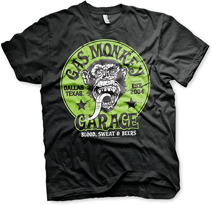 Gas Monkey Garage Offizielles Green Logo 3xl 4xl 5xl Herren T Shirt Schwarz Bekleidung
