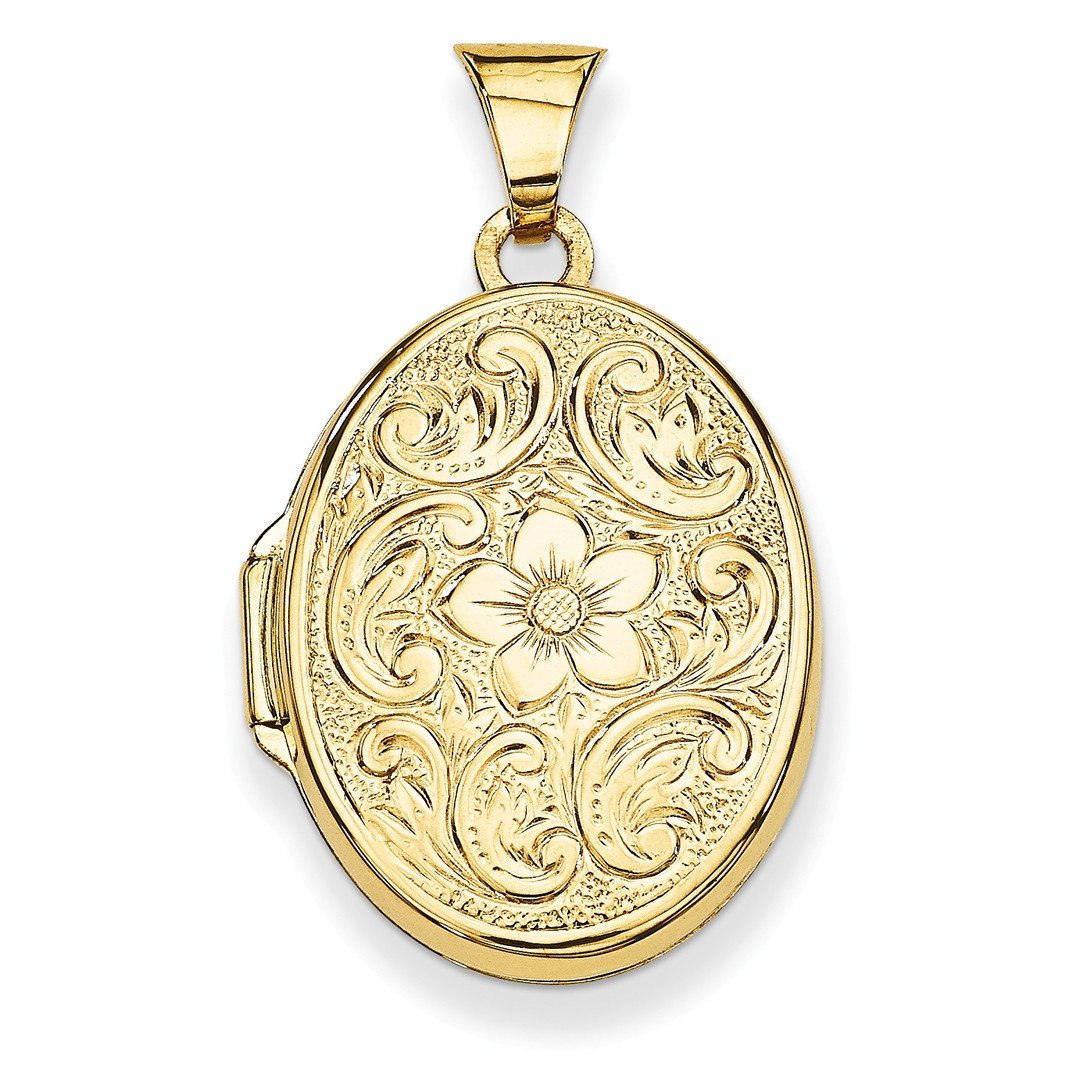 ICE CARATS 14k Yellow Gold Scrolled Floral Photo Pendant Charm Locket Chain Necklace That Holds Pictures Oval Fine Jewelry Gift Set For Women Heart