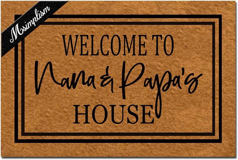 Msimplism.D Doormat Home Decor Funny Doormat Welcome to Nana and Papa's House Monogram Doormat Indoor Outdoor Rubber Welcome Mat Non-Slip Backing Entry Way Doormat 23.6 x 15.7 Inch
