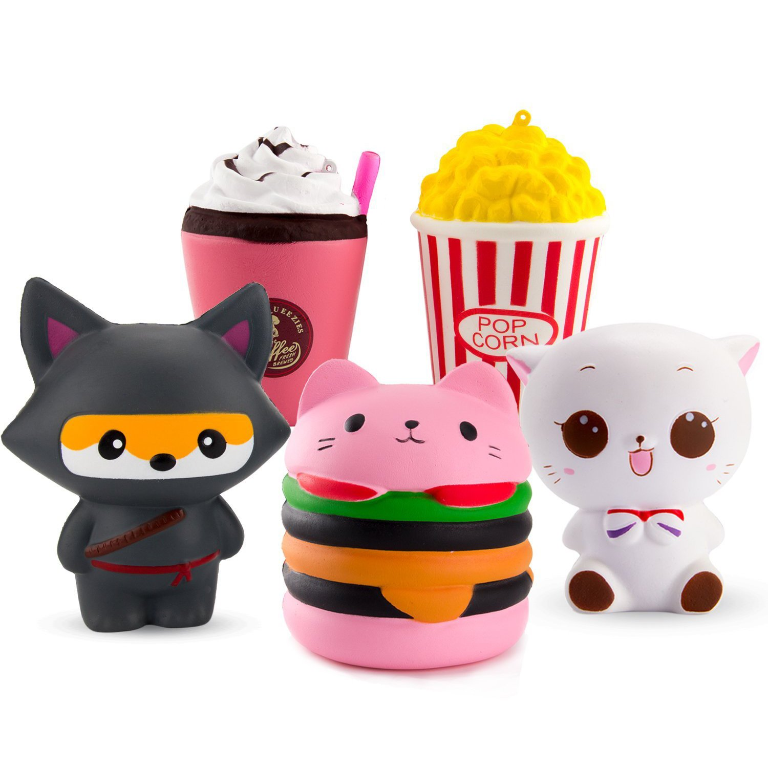 WATINC 5 Pcs Cute Animal&Food Squishy Sweet Scented Vent Charms Slow Rising squishies Kawaii Kid Toy , Lovely Stress Relief Toy, Animals Gift Fun Large(WT-5P Ninja Fox Set)