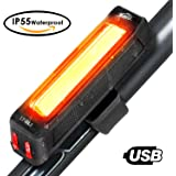 HiHiLL Luz Trasera Bici Luces Bicicleta, 6 Modos, Recargable USB, Impermeable para Ciclismo (LT-BL2, Negro)