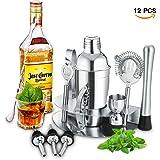 Kit da Barman Set da 12 Pezzi Cocktail Manhattan in Acciaio Inox per Professionisti e Non - Set con Cocktail Shaker, Misurino, 3 beccucci, Pinze ecc. Portatile per Eventi, Compleanni, Serate