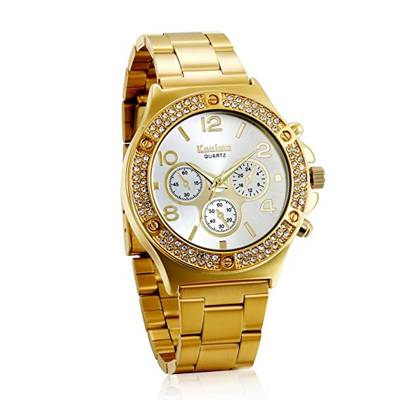 Avaner Reloj Dorado de Esfera Dorada Dial con Diamantes de Imitación Brillantes, Grande Reloj de Caballero Cuarzo, 3 Subesferas Decorativas, Reloj ...