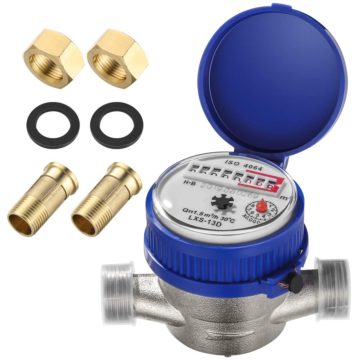 Hemobllo Water Meter Water Flow Meter Cold Water Meter for Garden and Home use