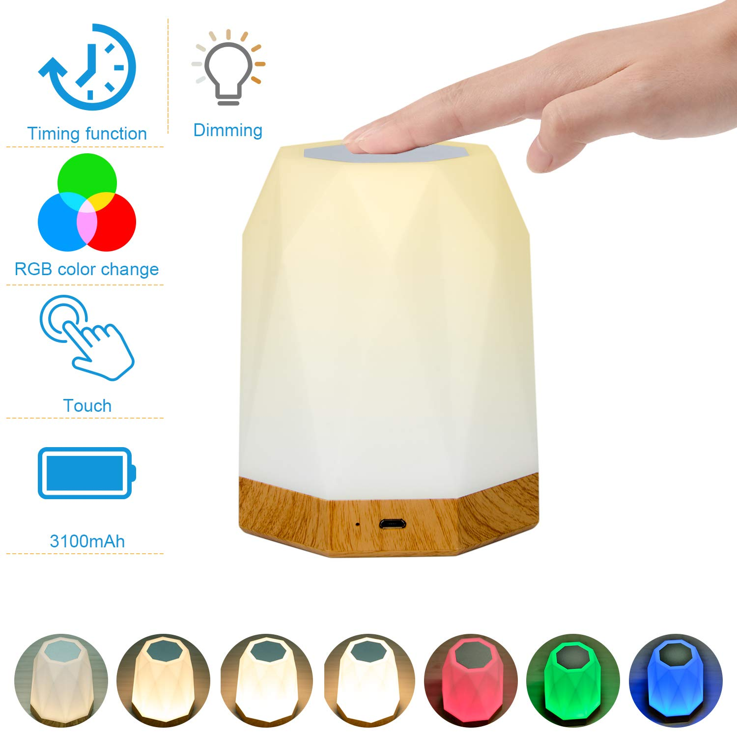 Touch Lamp, KMASHI Touch Bedside Lamp for Bedrooms, LED Rechargeable Portable Night Light with Dimmable 2800K-3100K Warm White Light, Color Changing RGB, Timer Setting