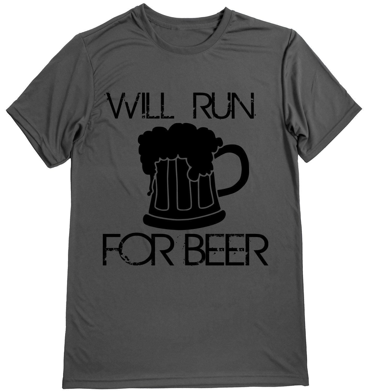 パフォーマンスドライスポーツシャツ – メンズランナーTシャツ – ランニング引用 – Will Run for Beer Small Gray-black B075X2HZ8M