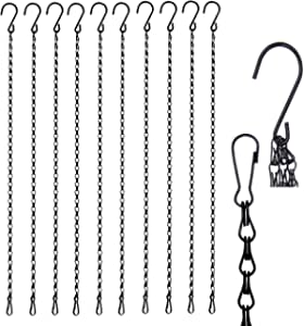 Chalkboards and More,Indoor and Outdoor Use LUTER 12 Pack 22.4 Inches Decorative Hanging/Chains Black Hook Chains Mental Chain Hanger for Bird Feeders,Planters,Lanterns,Wind Chimes,Billboards
