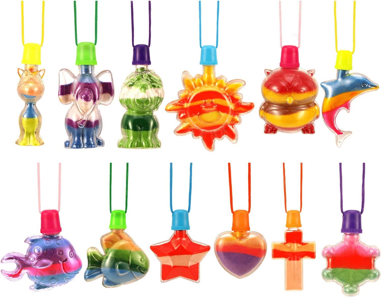 12 Pieces Sand Art Bottle Necklaces Animals Sand Art Necklace for Novelty Art Activity Group Variety Summer Beach Games Sand not Included