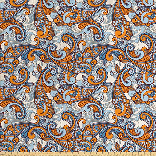 Ambesonne Vintage Fabric by The Yard, Paisley Inspired Asian Swirls Curls Floral Abstract Botanical Oriental, Decorative Fabric for Upholstery and Home Accents, 3 Yards, Orange Pale Blue Cream
