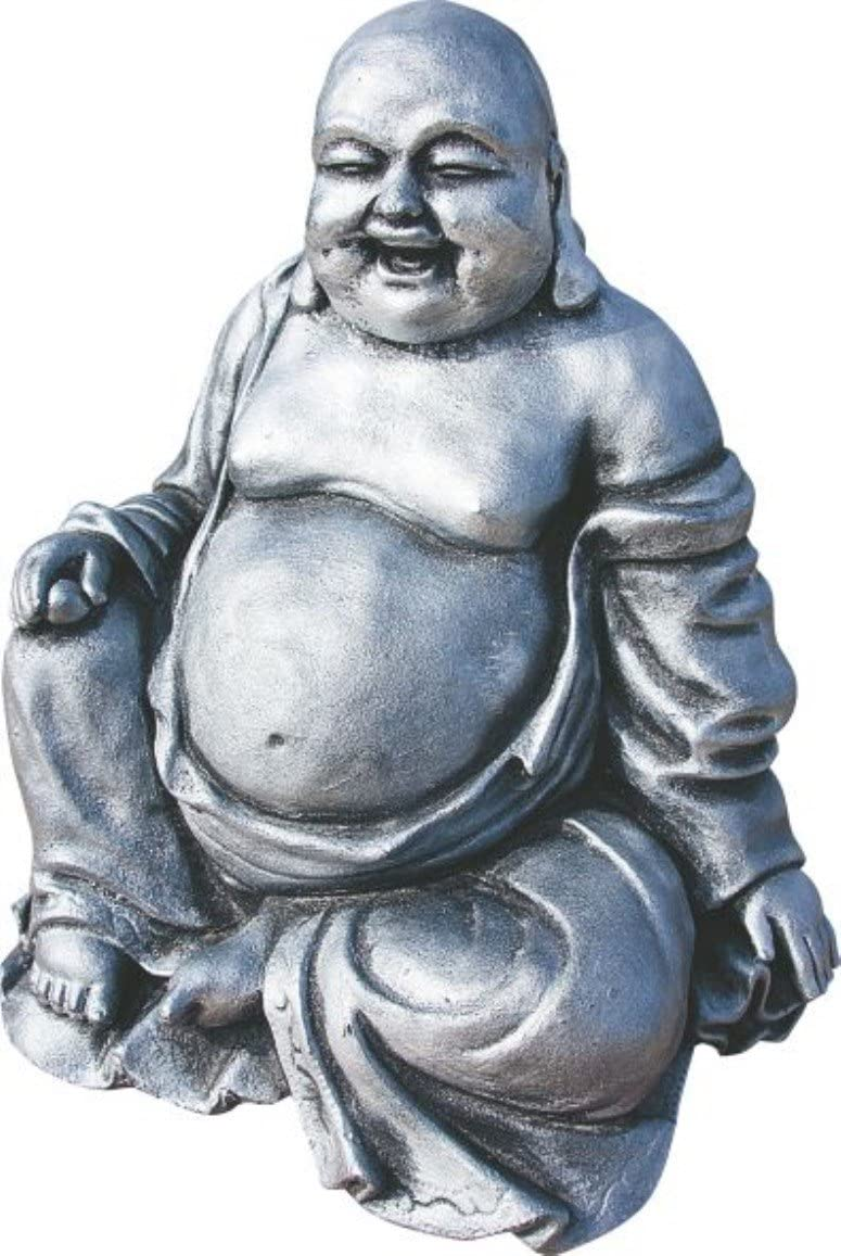 AnaParra Figura Buda de La Suerte para el jard/ín 30cm Hormig/ón-Piedra Arlequ/ín Plateado.