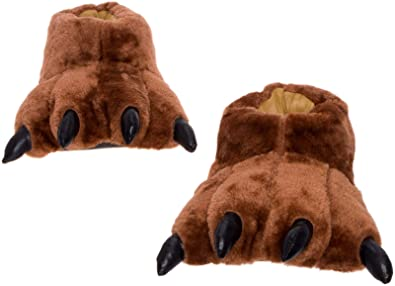 0ee00771027 Silver Lilly Dark Brown Bear Paw Slippers - Plush Novelty Animal House  Shoes w Comfort