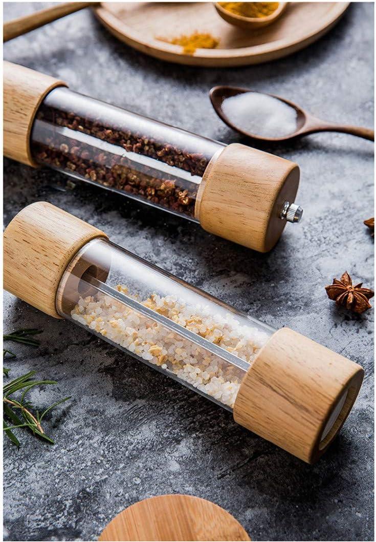 Wisfruit Pepper Grinder Clear Acrylic Window Manual Pepper Shakers Adjustable Coarseness Salt Grinder Pepper Mill